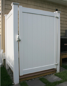 Outdoor Shower Enclosure for Outside Shower shown in white vinyl