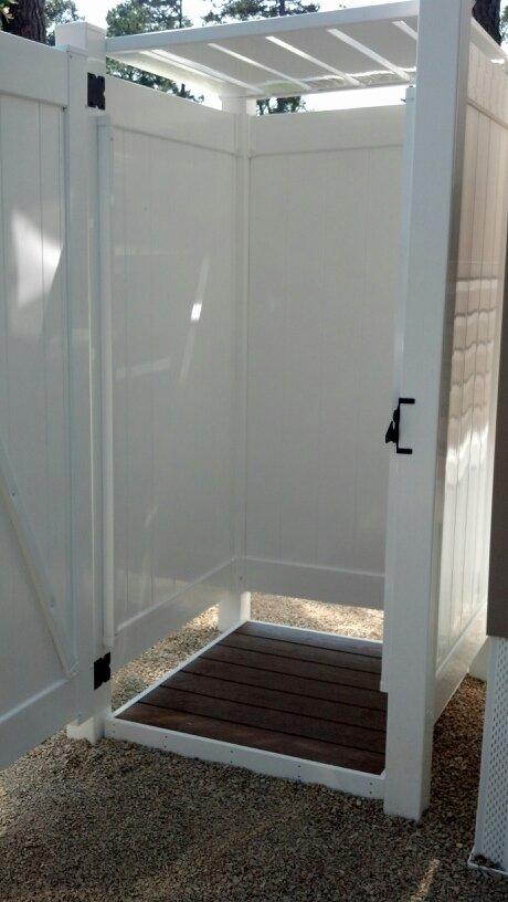 Photo gallery of park model outdoor shower enclosures for for Outdoor shower doors